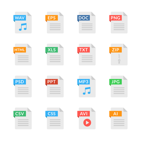 Document icons. File formats. Flat design. Vector icons set isolated on white background Çizim