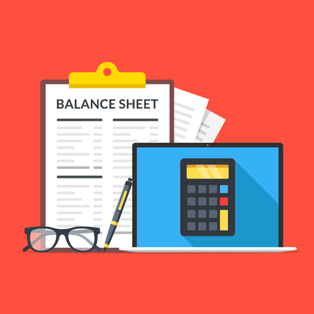 Balance sheet. Laptop with calculator on screen, glasses, pen and clipboard with financial statement. Flat design. Vector illustration Vektorgrafik