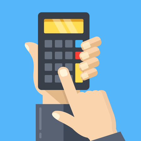 Calculation. Hand holding calculator, finger touching button. Modern concept. Flat design. Vector illustration