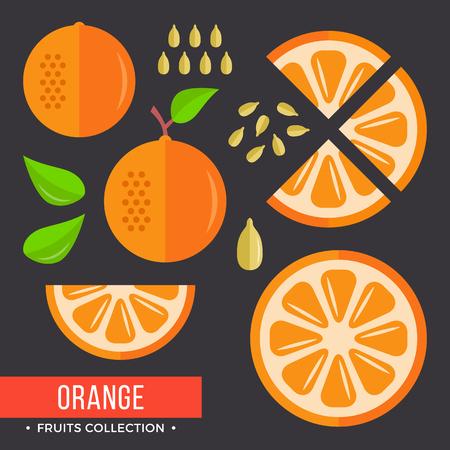 Orange set. Modern flat icons. Vector illustration