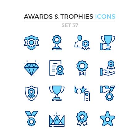Icônes de récompenses et de trophées. Jeu d'icônes de ligne vectorielle. Qualité supérieure. Conception de ligne mince simple. Symboles de contour modernes, pictogrammes.