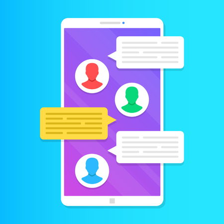 Group chat. Group text messaging app on smartphone screen. Online communication concepts. Modern vector illustration