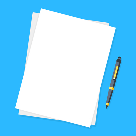 Blank sheet of papers and pen. Modern flat design graphic elements.