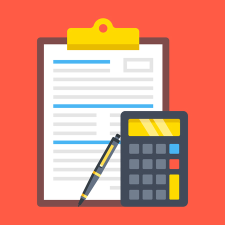 Clipboard with document, calculator and pen. Financial calculations, accounting, application form, financial statement, audit, budget calculator concepts. Modern flat design.