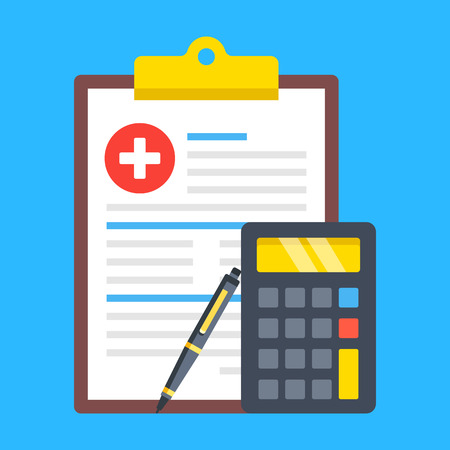 Medical insurance form, health insurance calculator, medical bill. Cost calculation concepts. Clipboard with document, calculator and pen. Modern flat design.