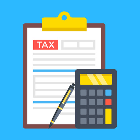 Tax form, accounting, tax return concepts. Clipboard with financial statement, calculator and pen. Modern flat design.
