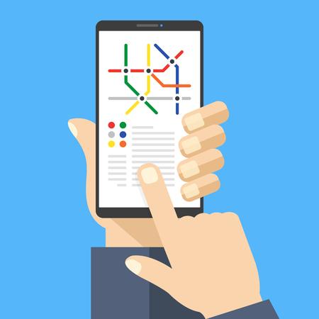 Plan du métro sur l'écran du smartphone. Application Metro avec plan du métro. Main tenant le téléphone portable, écran tactile du doigt. Navigation, concepts de localisation. Design plat moderne.