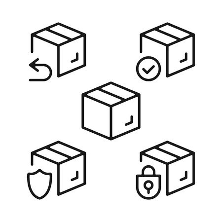 Boxes line icons set. Cardboard boxes, parcels, packages outline symbols. Delivery, shipping, transportation concepts. Modern graphic design elements collection. Vettoriali