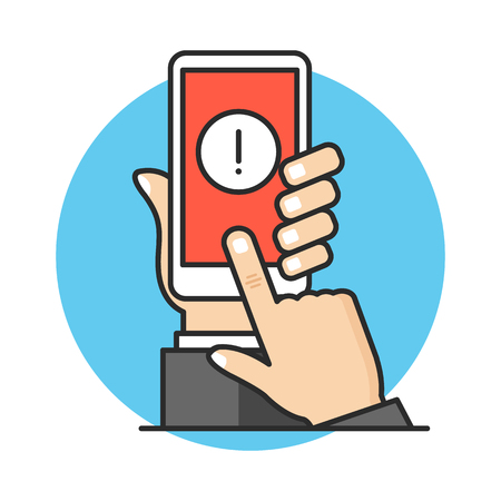 Smartphone notification, mobile alert, warning concepts. Hand holding mobile phone with exclamation point, finger touching screen. Modern flat line design. Vector illustration