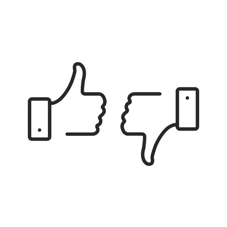 Like and dislike line icons set. Thumbs up and thumbs down. Dislike and like button. Premium quality. Modern outline elements, graphic design concepts, linear symbols collection. Vector line icons