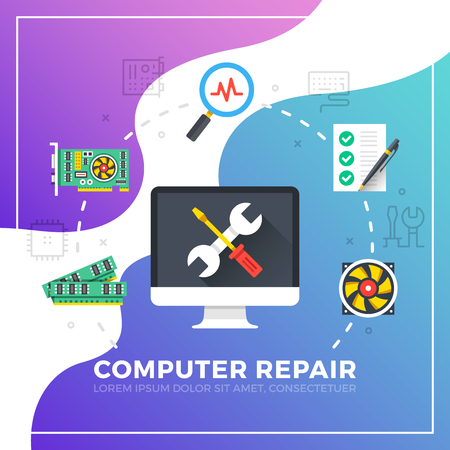 Computer repair. Flat design graphic elements. Modern vector illustration Illustration