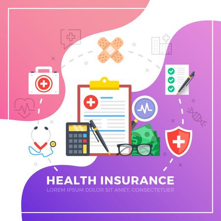 Assurance santé. Éléments graphiques de conception plate. Illustration vectorielle moderne