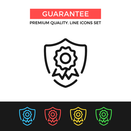 Vector guarantee icon. Shield with award badge. Premium quality graphic design. Modern signs, outline symbols collection, simple thin line icons set Illustration