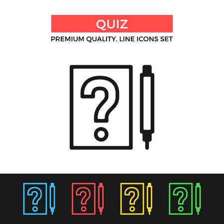 Vector quiz icon. Questionnaire, test, exam concepts. Premium quality graphic design. Modern signs, outline symbols, simple thin line icons set Ilustração