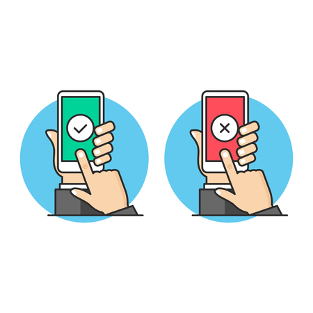 Hand holding smartphone with checkmark, finger touching screen. Mobile phone with tick and smart phone with x mark on screen. Modern flat line design. Vector illustration Illustration