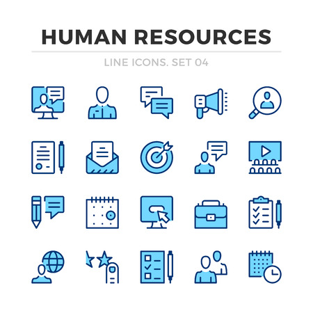 Human resources vector line icons set. Thin line design. Outline graphic elements, simple stroke symbols. Human resources icons