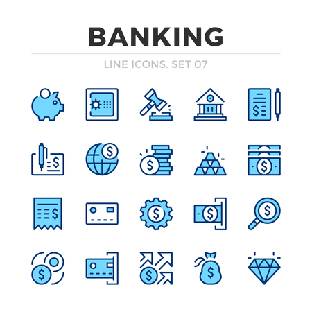 Banking vector line icons set. Thin line design. Outline graphic elements, simple stroke symbols. Banking icons Banque d'images - 118979831