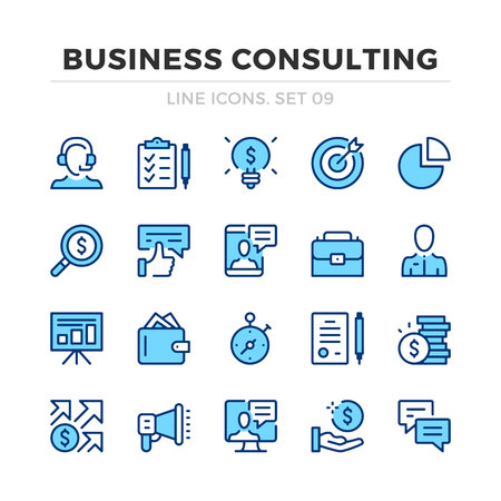 Business consulting vector line icons set. Thin line design. Outline graphic elements, simple stroke symbols. Business analysis icons Banque d'images - 118979833