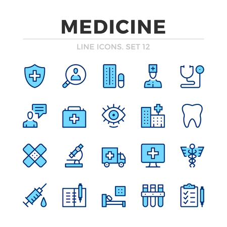 Medicine vector line icons set. Thin line design. Modern outline graphic elements, simple stroke symbols. Medical icons Banque d'images - 118979862