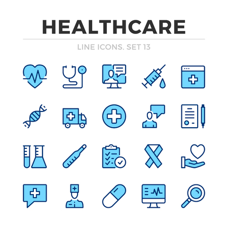 Healthcare vector line icons set. Thin line design. Outline graphic elements, simple stroke symbols. Healthcare icons Banque d'images - 118979863
