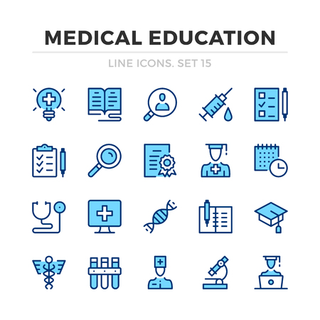 Medical education vector line icons set. Thin line design. Modern outline graphic elements, simple stroke symbols. Medical education icons Banque d'images - 118979865