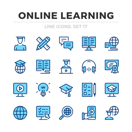 Online learning vector line icons set. Thin line design. Outline graphic elements, simple stroke symbols. Online learning icons Banque d'images - 118979869