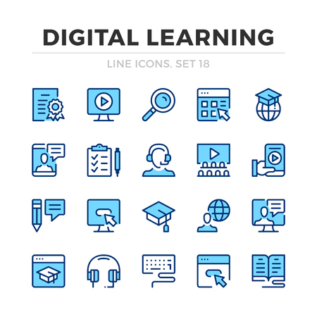 Digital learning vector line icons set. Thin line design. Outline graphic elements, simple stroke symbols. Digital learning icons Banque d'images - 118979870