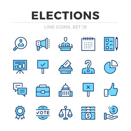 Ensemble d'icônes de ligne vectorielle d'élections. Conception de ligne mince. Éléments graphiques de contour modernes, symboles de traits simples. Icônes de vote Vecteurs
