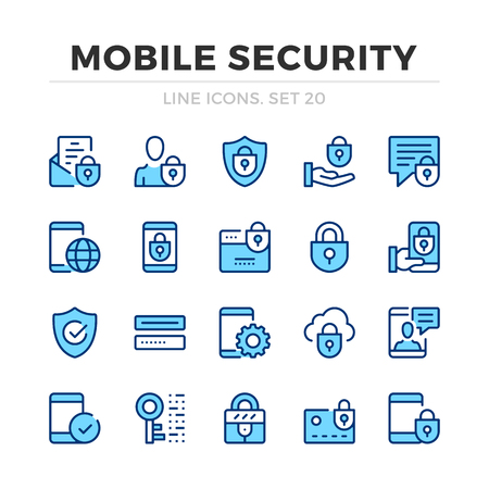Mobile security vector line icons set. Thin line design. Outline graphic elements, simple stroke symbols. Mobile security icons Banque d'images - 118979872