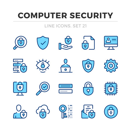Computer security vector line icons set. Thin line design. Modern outline graphic elements, simple stroke symbols. Computer security icons Banque d'images - 118979874