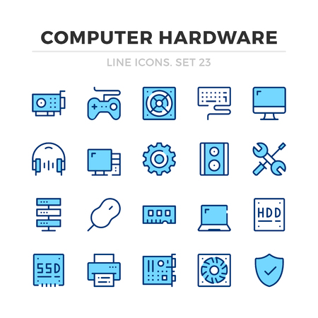 Computer hardware vector line icons set. Thin line design. Outline graphic elements, simple stroke symbols. Computer icons Banque d'images - 118979876