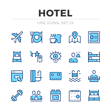 Hotel vector line icons set. Thin line design. Outline graphic elements, simple stroke symbols. Hotel icons Banque d'images - 118979877