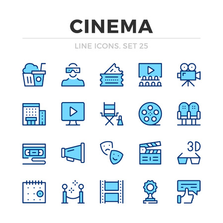 Cinema vector line icons set. Thin line design. Outline graphic elements, simple stroke symbols. Cinema icons Banque d'images - 118979878