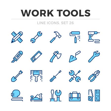 Ensemble d'icônes de ligne vectorielle d'outils de travail. Conception de ligne mince. Décrire les éléments graphiques, les symboles de traits simples. Icônes d'outils de travail
