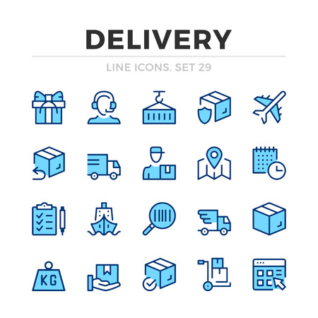 Delivery vector line icons set. Thin line design. Outline graphic elements, simple stroke symbols. Delivery icons Banque d'images - 118979886