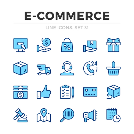 E-commerce vector line icons set. Thin line design. Outline graphic elements, simple stroke symbols. Ecommerce icons Banque d'images - 118979892