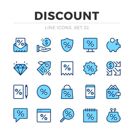 Discount vector line icons set. Thin line design. Modern outline graphic elements, simple stroke symbols. Discount icons Banque d'images - 118979893