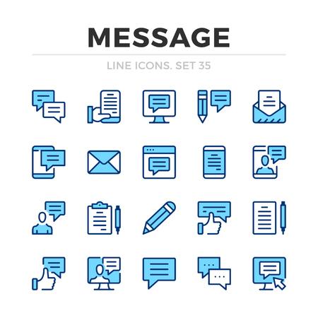 Message vector line icons set. Thin line design. Modern outline graphic elements, simple stroke symbols. Message icons Banque d'images - 118979897