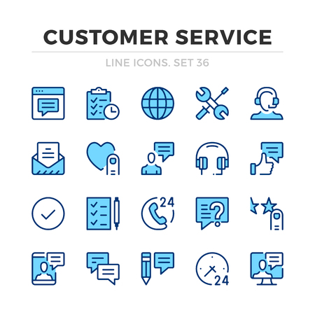 Customer service vector line icons set. Thin line design. Modern outline graphic elements, simple stroke symbols. Customer service icons Banque d'images - 118979898