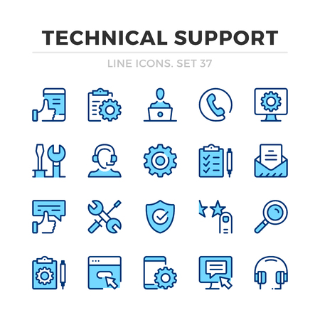 Technical support vector line icons set. Thin line design. Outline graphic elements, simple stroke symbols. Technical support icons Banque d'images - 118979899