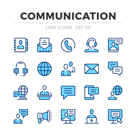 Communication vector line icons set. Thin line design. Modern outline graphic elements, simple stroke symbols. Communication icons Banque d'images - 118979900
