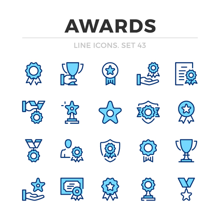 Awards vector line icons set. Thin line design. Modern outline graphic elements, simple stroke symbols. Awards icons Banque d'images - 118979903
