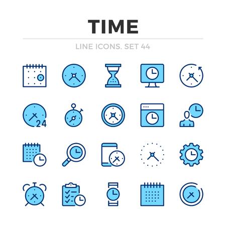 Time vector line icons set. Thin line design. Outline graphic elements, simple stroke symbols. Time icons Banque d'images - 118979904
