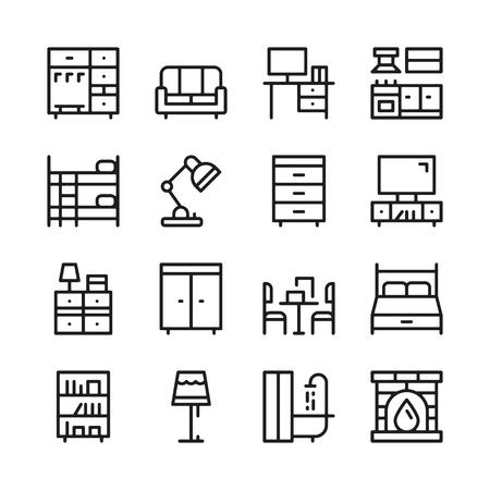 Furniture line icons set. Modern graphic design concepts, simple outline elements collection. Vector line icons Banque d'images - 118979906