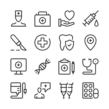 Healthcare line icons set. Modern graphic design concepts, simple outline elements collection. Vector line icons Banque d'images - 118979907