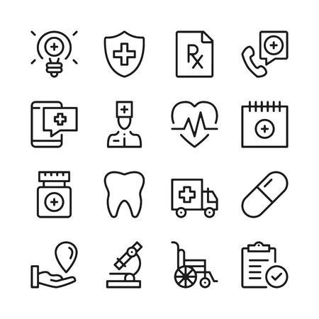 Medical assistance line icons set. Modern graphic design concepts, simple outline elements collection. Vector line icons Banque d'images - 118979908