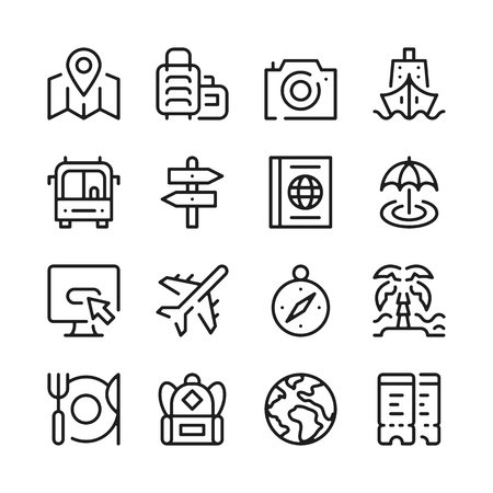 Travel line icons set. Modern graphic design concepts, simple outline elements collection. Vector line icons Illustration