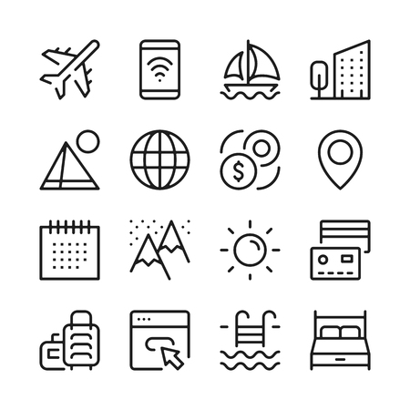 Tourism and vacation line icons set. Modern graphic design concepts, simple outline elements collection. Vector line icons Banque d'images - 118979910