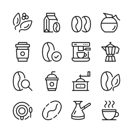 Coffee line icons set. Modern graphic design concepts, simple outline elements collection. Vector line icons Banque d'images - 118979912