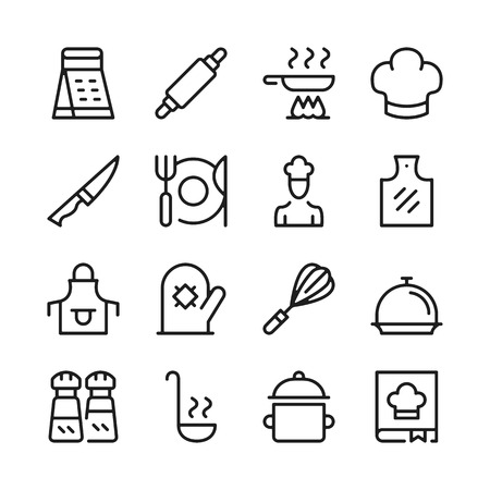 Cooking line icons set. Kitchen utensils, cook food, recipe. Modern graphic design concepts, simple outline elements collection. Vector line icons Banque d'images - 118979913